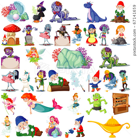Set of fantasy cartoon characters and fantasy 67141659