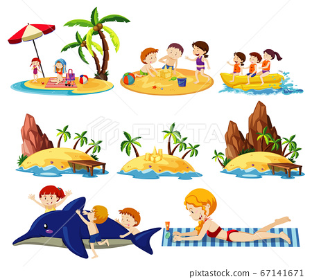 Set of summer beach land and icon cartoon style on 67141671