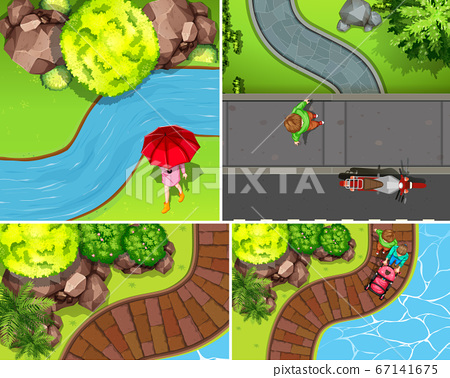 Set of aerial park with river scene 67141675