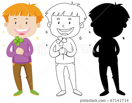 Boy holding clover leaf in colour and silhouette 67141714