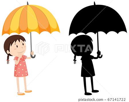 Girl holding umbrella in colour and silhouette 67141722