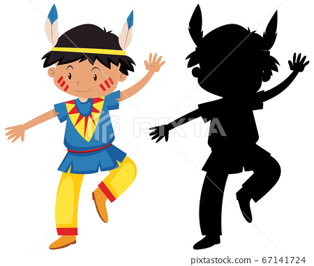 Boy in native american costume with its silhouette 67141724