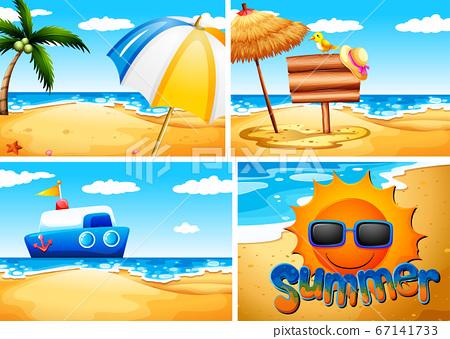 Set of summer beach background 67141733