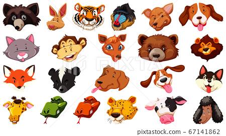 Set of different cute cartoon animals head huge 67141862