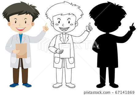 Doctor man in color and outline and silhouette 67141869