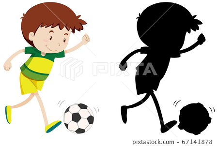 Boy playing football in colour and silhouette 67141878