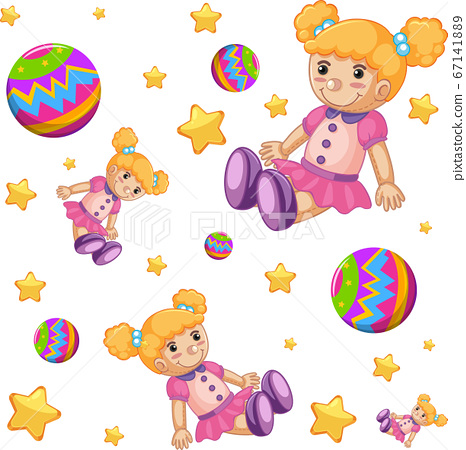 Seamless background design with cute dolls and 67141889