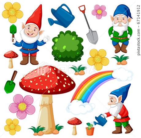 Set of gnome and fairy tale icon fantasy cartoon 67141912