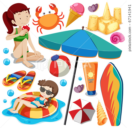 Set of summer beach icon and kids cartoon on white 67141941