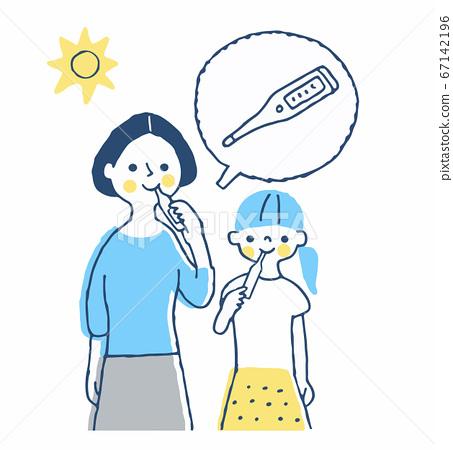 媽媽和女孩考慮體溫 67142196