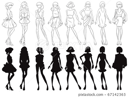 Set of female sketch and silhouette 67142363