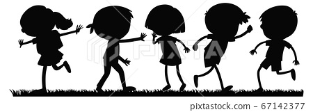 Boy and girl silhouette 67142377