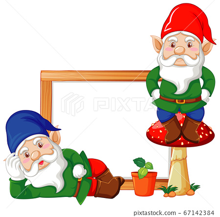 Gnomes with blank banner in cartoon character on 67142384