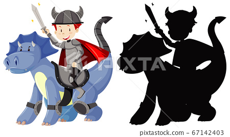 Knight riding cute dragon with sword in color and 67142403