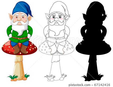 Gnome sitting on mushroom in color and outline and 67142416