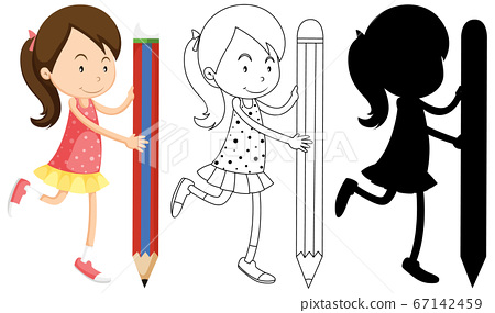 Girl holding pencil with its outline and 67142459