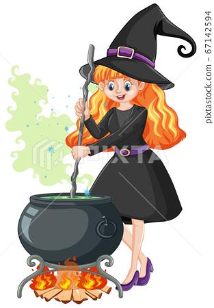 Young beautiful witch with black magic pot cartoon 67142594