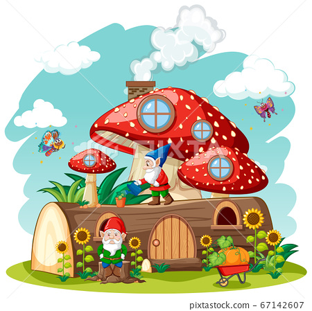 Gnomes and timber mushroom house and in the garden 67142607