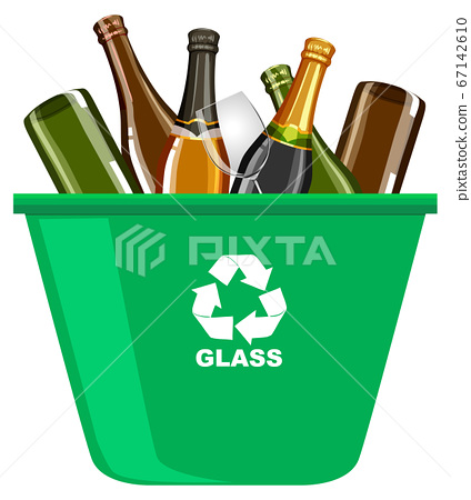Green recycle bins with recycle symbol on white 67142610