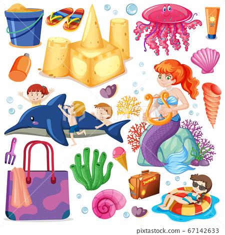 Set of summer beach icon and mermaid cartoon 67142633
