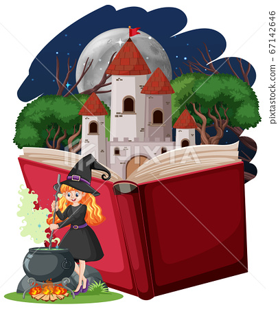 Witch and castle tower with pop up book cartoon 67142646