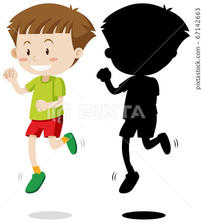 Boy running in colour and silhouette 67142663