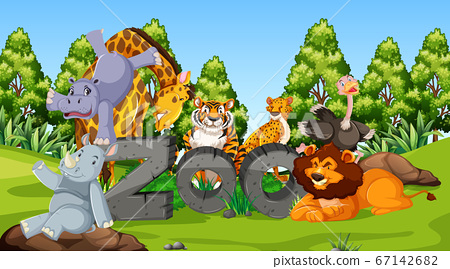 Zoo animals in the wild nature background 67142682