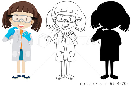Cute chemist girl with its silhouette and outline 67142705
