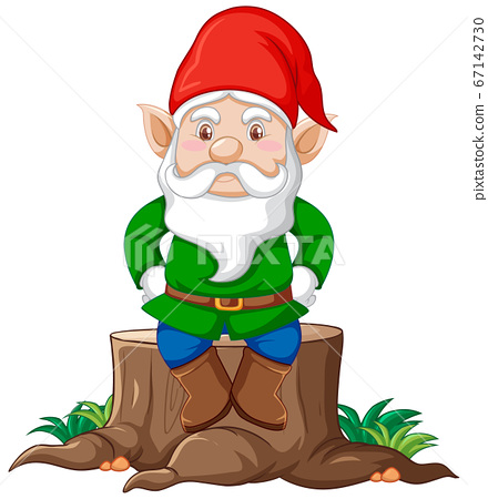 Gnome sitting on stump cartoon character on white 67142730