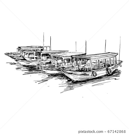Drawing of the the boat in Vietnam Hoi An  67142868
