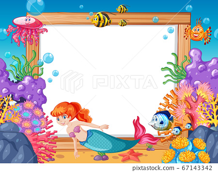 Mermaid and sea animal theme with blank banner 67143342