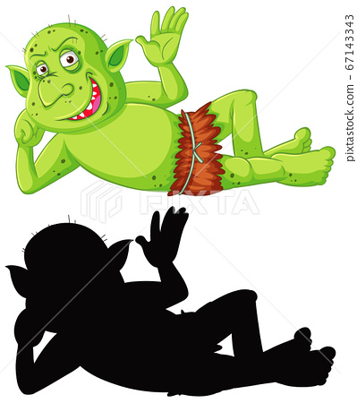 Goblin or troll in color and silhouette in cartoon 67143343