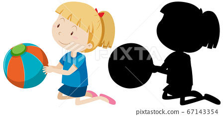 Girl holding the ball with its silhouette 67143354