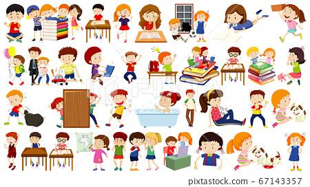 Set of cute kids cartoon character 67143357