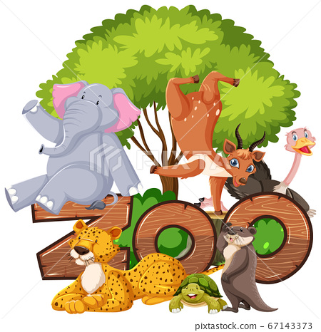 Group of animals under the tree with zoo sign 67143373