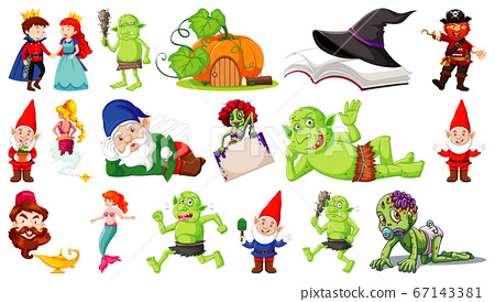 Set of fantasy cartoon characters and fantasy 67143381