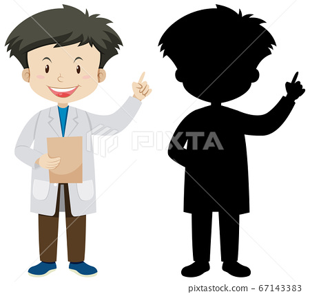 Doctor man in color and silhouette 67143383
