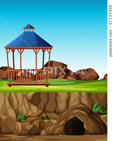 Animal park construction without animal in cartoon 67143400