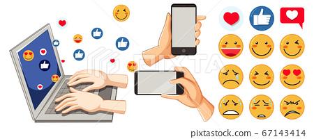 Set of social media emoticon 67143414
