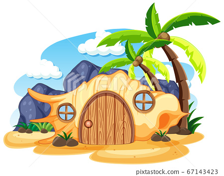 Shell fairy tale house on the beach cartoon style 67143423