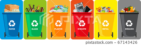 Colorful recycle bins with recycle symbol isolated 67143426