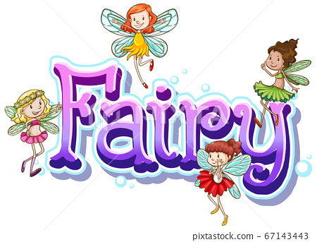 Fairy logo with little fairies on white background 67143443