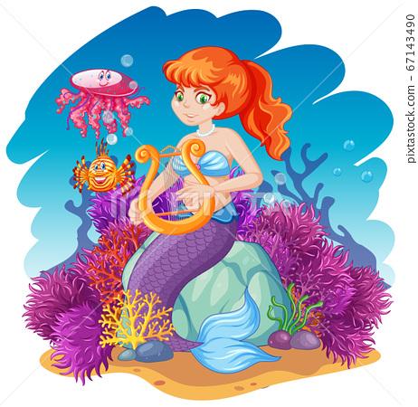 Mermaid and sea animal theme cartoon style on 67143490