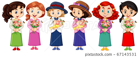 Set of cute multicultural girl characters 67143531