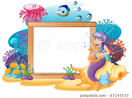 Mermaid and sea animal theme with blank banner 67143537