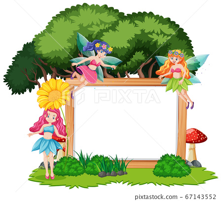 Fairy tales in forest with blank banner cartoon 67143552