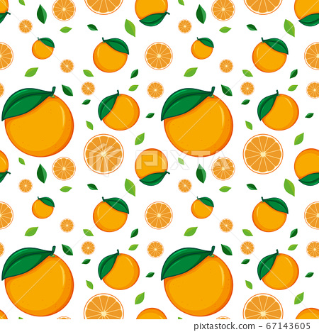 Seamless background design with fresh oranges 67143605