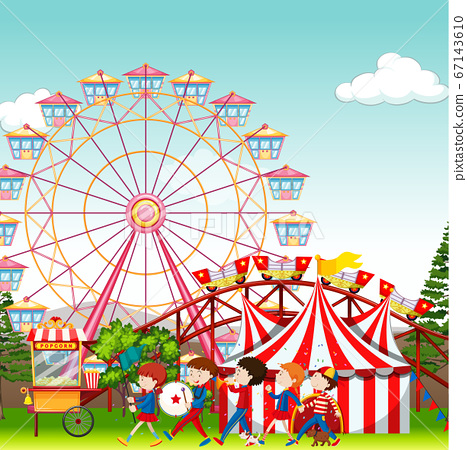 Amusement park with circus and ferris wheel  67143610