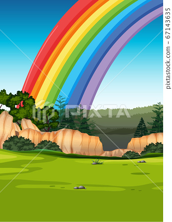 Colorful rainbow with meadow and sky cartoon style 67143635