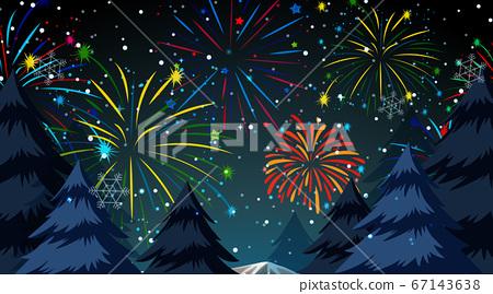 Forest with celebration fireworks scene 67143638